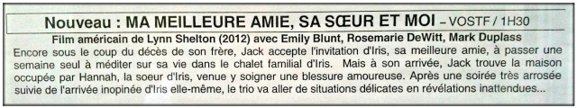 The description of Your Sister's Sister in French.