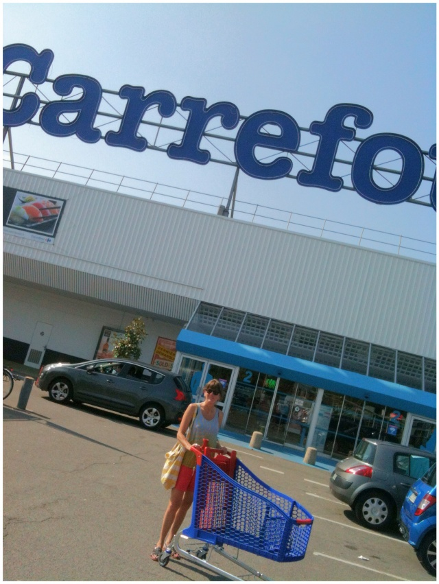 Melinda's favorite grocery bags are from this grocery store in France. She bought three new ones to use in Seattle.