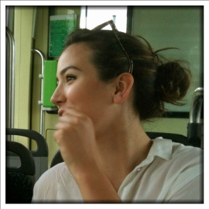 On the tram.