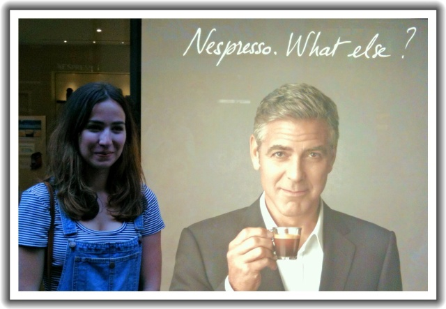 Chloe* was excited to go to the Nespresso shop in Nantes today, a place that has a coffee bar. She and Melinda enjoyed this. Ella & I sat outside in the rain and waited for them to finish. FYI, in the French commercial embedded below, George Clooney and Matt Damon are inside a Nespresso shop in France.