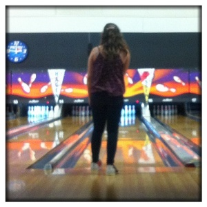 One of the few times Ella actually watched her ball roll down the alley.