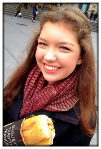 Ella with a jambon fromage sandwich that we were about to share.