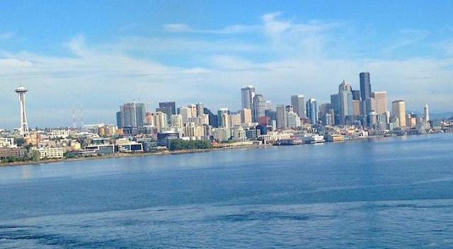 The bluest skies you've ever seen are in Seattle, proven by this picture taken today by mom and sent by text as she and my dad left Seattle for a 14 day Alaskan cruise!