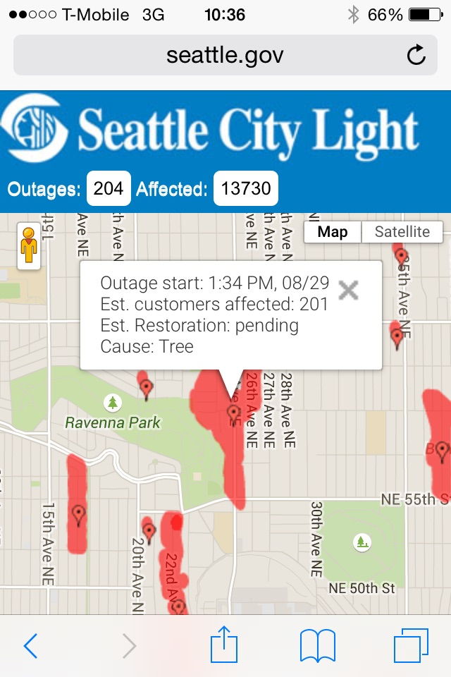 It's approaching 5pm and we're still without power. That's 27 hours in the dark for us. This map shows the big outage in our neighborhood caused by a tree taking out the power lines a block from our house.