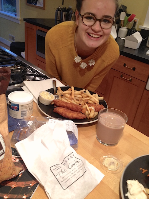 """Fish, fries, the """"Cookie"""", and chocolate milk from Metropolitan Market, all to go along with episodes of Parks & Recreation. The only thing missing was Ella!"""