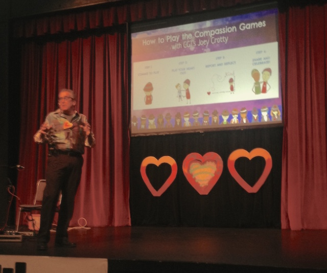 A couple of hours ago I was on this stage at the Seattle Center talking about the Compassion Games. This is Jon Ramer, the creator of the games, moments before he gave me a really nice introduction.