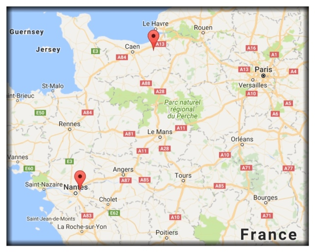 You'll locate Nantes in the lower left. I've marked it with a red pin. The other red pin above and to the right is Auvillars in Normandy, the location of Bernard's parent's house.