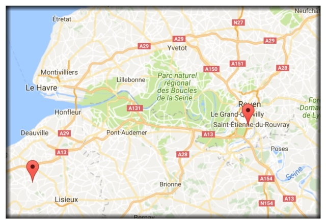 So I enlarged this map to zero in more on where we stayed and visited in Normandy. Auvillars is the red pin on the left. And Saint-Etienne-du-Rouvray, where today's attack took place, is the pin on the right. You'll also see Honfleur and Deauville, places we visited last week. When Bernard drove us to Paris last week, it was along the A13.